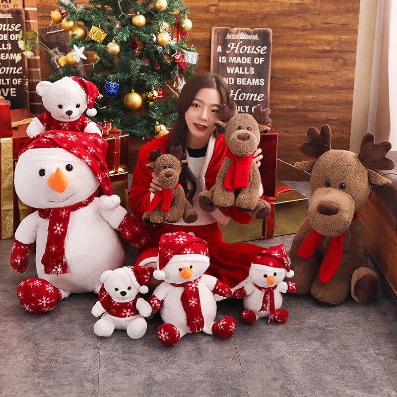 1Pcs Cute Snowman Elk Doll Christmas Bear Plush Toy Festival Decoration Ragdoll Christmas Gift Party Christmas Gift For Kid Girl