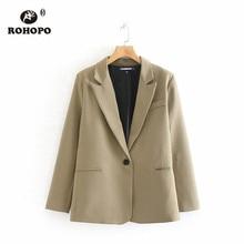 ROHOPO Single Button Khaki Solid Blazer Office Ladies Notched Collar Cardigan Autumn Slim Outwear #6141