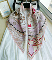 100% sarja de seda pura feminina 12mm impresso lenço quadrado grande lenço envoltório kerchief 108cm 42.5