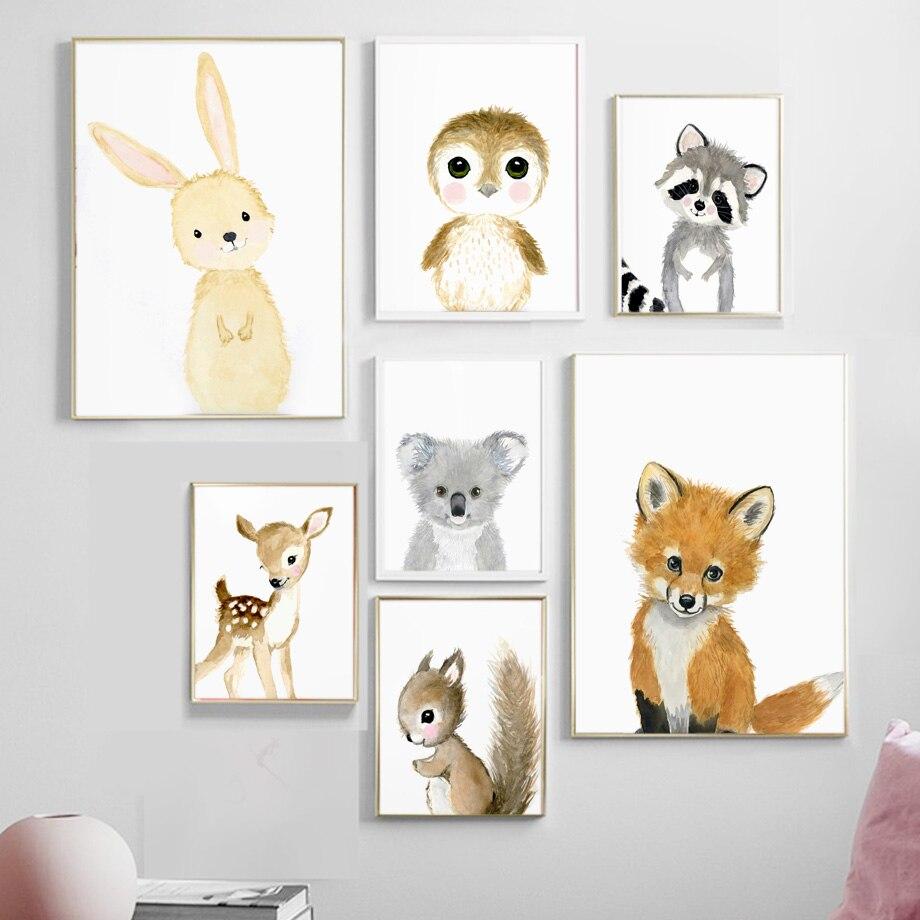 Мультфильм лиса коала олень планшетофон в скандинавском стиле художественное украшение для детской комнаты плакаты Холст Картина M468