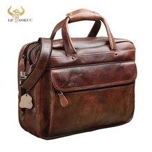 Men Oil Waxy Leather Antique Design Business Briefcase Laptop Document Case Fashion Attache Messenger Bag Tote Portfolio 7146 c