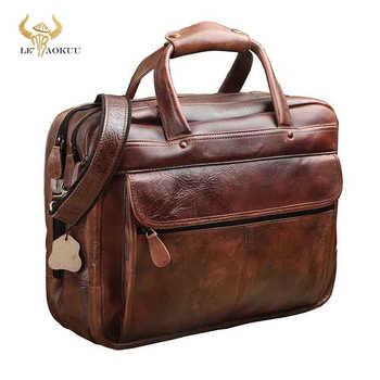 Men Oil Waxy Leather Antique Design Business Briefcase Laptop Document Case Fashion Attache Messenger Bag Tote Portfolio 7146-c - DISCOUNT ITEM  49 OFF Luggage & Bags