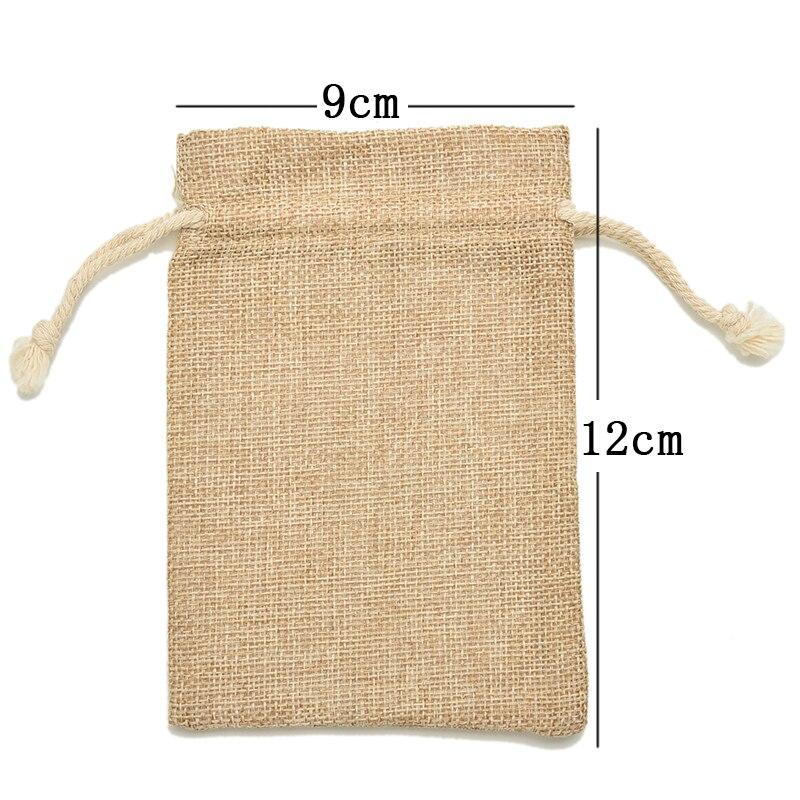 10PCS 9*12cm Drawstring Tie Bag Mini Rustic Burlap Pouch Sack Jewelry Pouches Bags Christmas Rustic Bag Wedding Party Favor