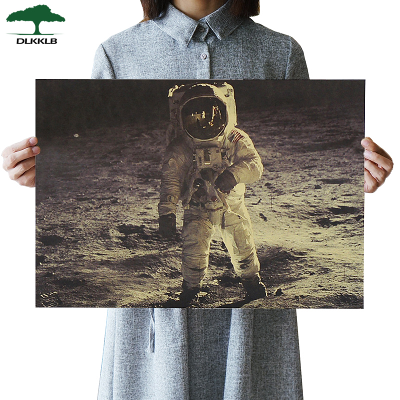 DLKKLB Vintage Poster Precious Photos The Apollo 11 Moon Landing Kraft Paper Adornment Movie Posters 51.5*36cm Wall Sticker