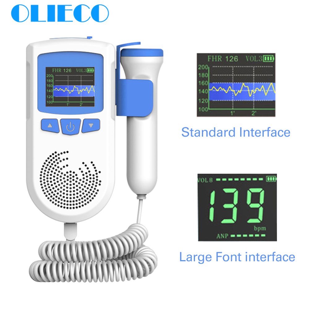 OLIECO 3.0 MHz Pregnant Doppler Home Prenatal Baby Heartbeat Sound Monitor LCD Porcket Fetal Doppler Household No Radiation CE