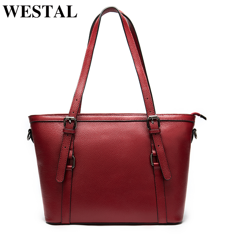 WESTAL Womens Briefcase Genuine Leather Bags Women Work/Computer Bag Office Bags For Women Laptop Bag Leather Handbags Female