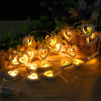 Cool festival lights Creative Wooden Heart LED String Lights Christmas Love Decor Wedding Party Decor Luces frescas del festival image