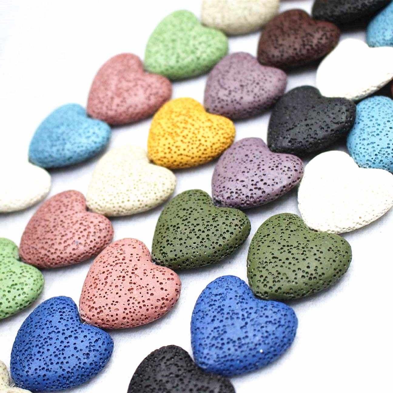 Wholesale Natural Lava Loose Beads,15 Color Volcanic stone Heart shape beads DIY jewelry accessories