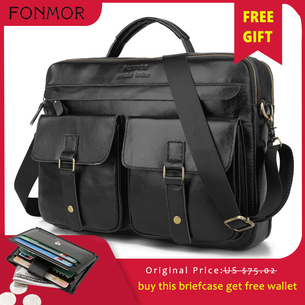 Fonmor Men Genuine Leather Briefcase Brown Laptop Messenger Bag Male Cowhide Business Crossbody Shoulder Bags Tote Handbag HOT