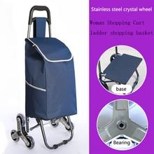 Тележка для пожилых лестниц, корзина для покупок на колесах, Женская корзина для покупок, большие бытовые сумки для покупок, складная тележк...