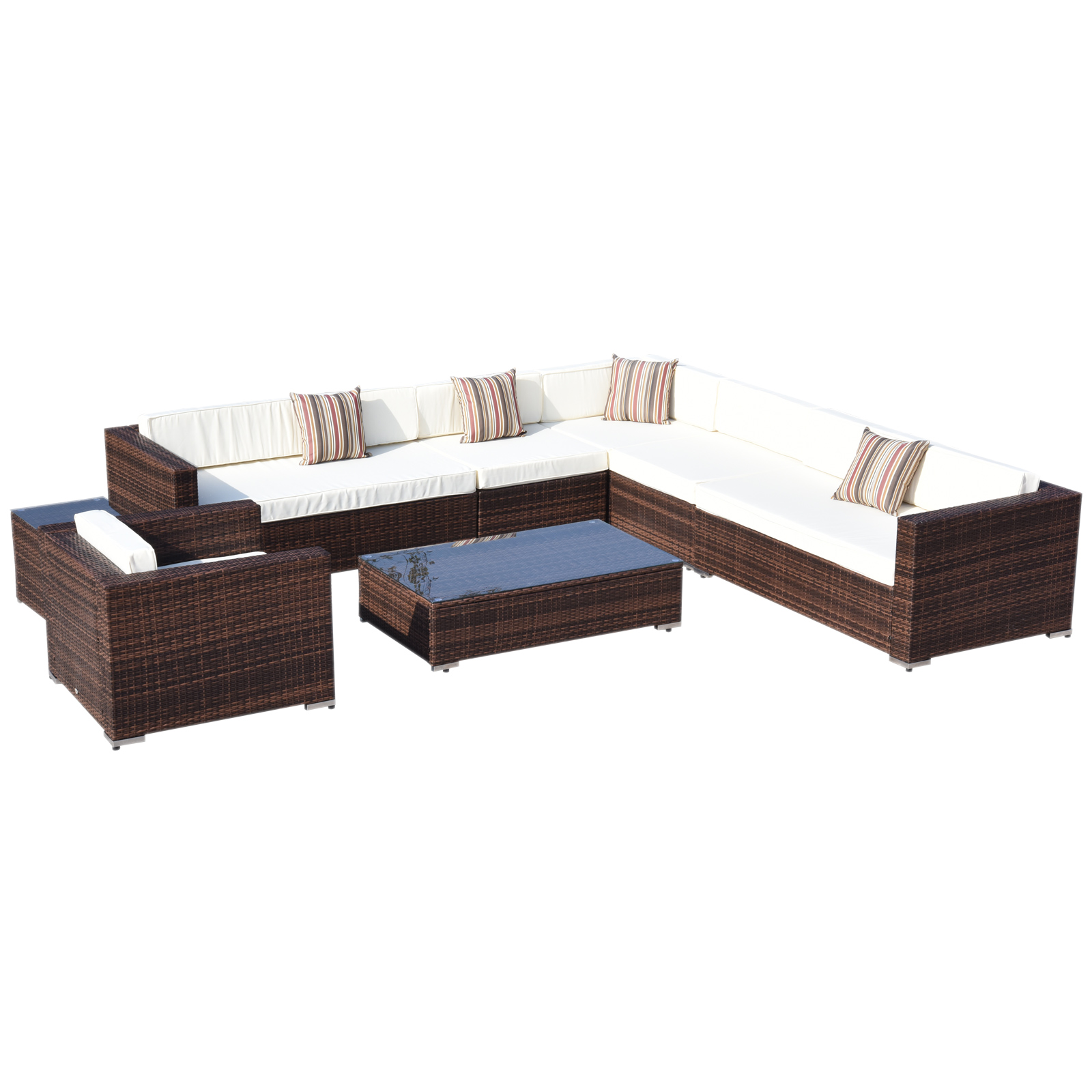Outsunny Set 8 PCs Lounge Aluminum Frame Garden Living Room Furniture Poly Rattan Coffee Brown