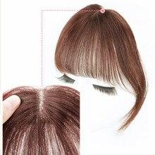 Средняя часть Клип В челке челка из человеческих волос воздушная челка бразильские волосы части Невидимые не-Реми замена волос парик