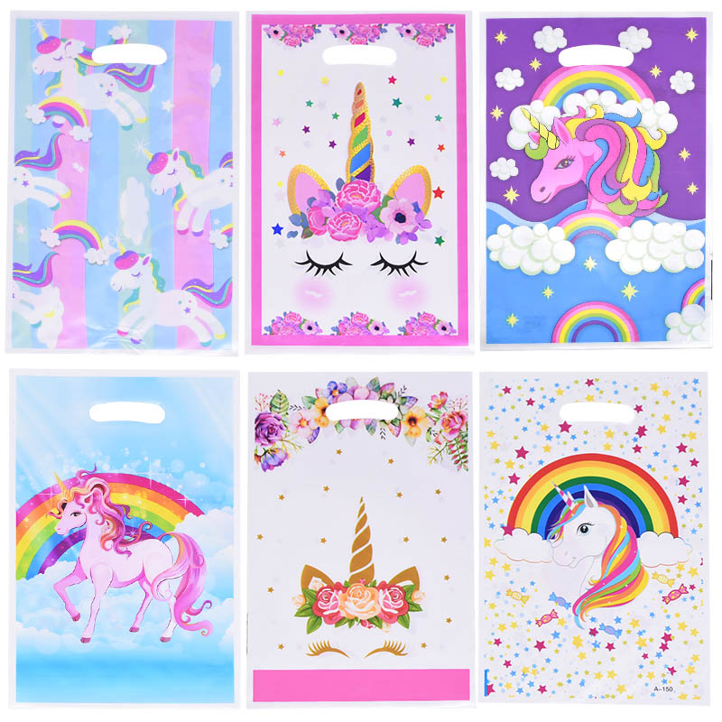 10pcs/lot Unicorn Plastic Gift Bags Unicorn Party Bags Kids Birthday Party Decoration Baby Shower Wedding Candy Bag With Handles