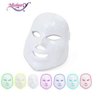 Image 1 - MissHeart Beauty Фотон светодиодная маска для лица терапия 7 видов цветов легкий уход за кожей омоложение морщин удаление акне Красота лица