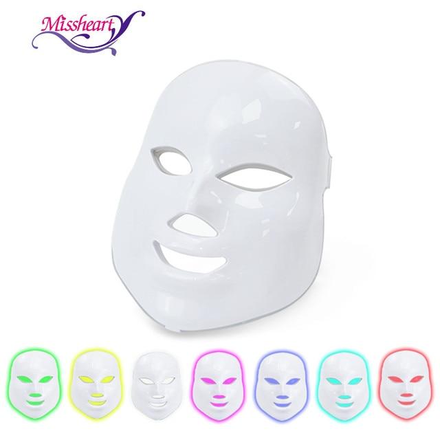 MissHeart Beauty Фотон светодиодная маска для лица терапия 7 видов цветов легкий уход за кожей омоложение морщин удаление акне Красота лица