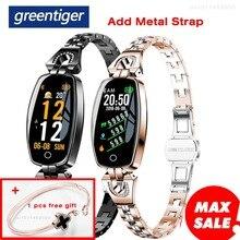 Greentiger h8 pulseira inteligente mulher atividade rastreador de fitness monitor de freqüência cardíaca pressão arterial ip67 à prova dip67 água inteligente