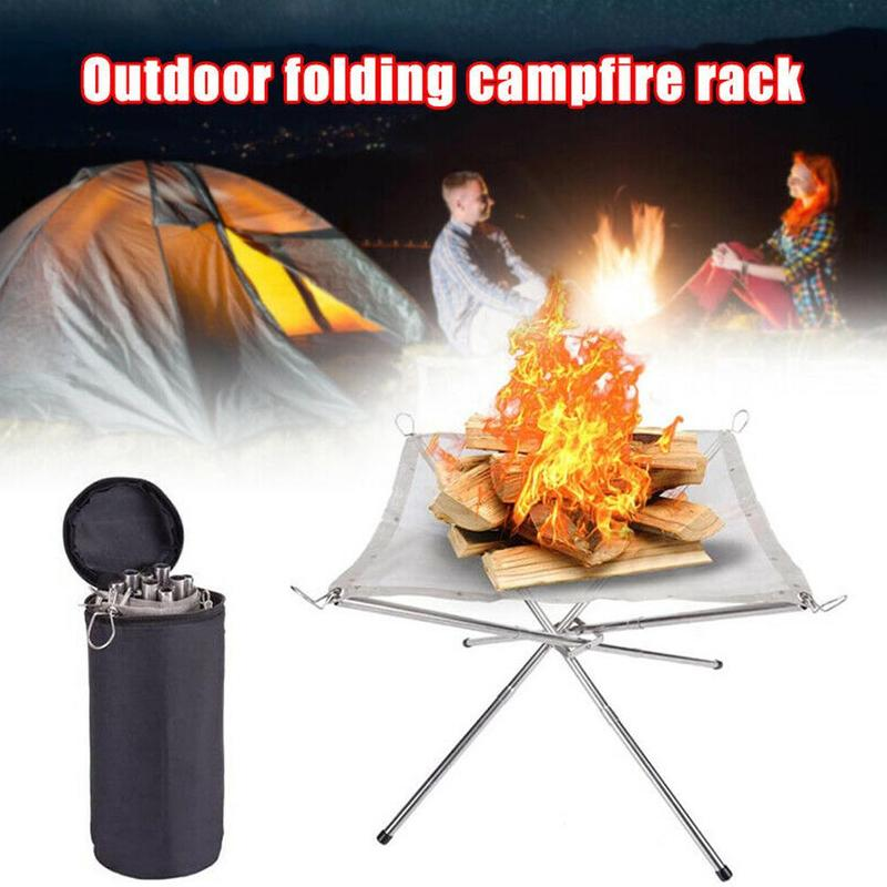 1PC Outdoor Portable Fire Rack Folding Table Grill Heating Charcoal Steel Grid Wood Super Stove Camping Point Stove