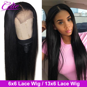 Celie Hair 4x4 6x6 Closure Wig Lace Front Human Hair Wigs 28 30 inch Lace Front Wig For Black Women 13x6 Straight Lace Front Wig