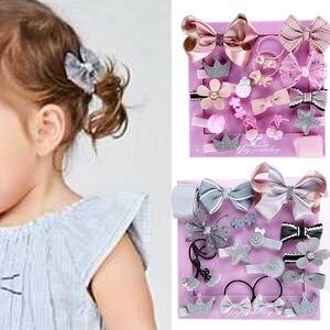 Красивая заколка для волос для маленьких девочек с бантом и цветочными мотивами, заколка для волос, аксессуары для волос, 18 шт.