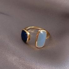 Ol moda doce estilo aberto anel de junta ajustável para as mulheres lindo imitar semi-precioso aquamarine gemstone jóias presente