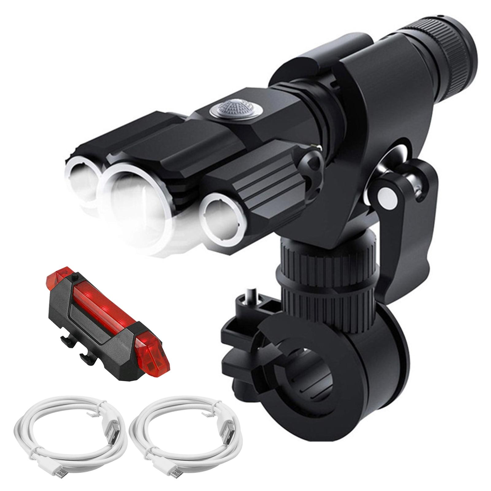 3 светодиодный суперъярких фонарика, фонари для путешествий, универсальные многофункциональные с задним фонарем, зарядка через USB, для ночной езды, экстренных ситуаций,