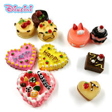2pcs Birthday cherry Cake Simulation Food Miniature Figurine Pretend play Kitchen Toy Doll House DIY Accessories gift Baby Gift
