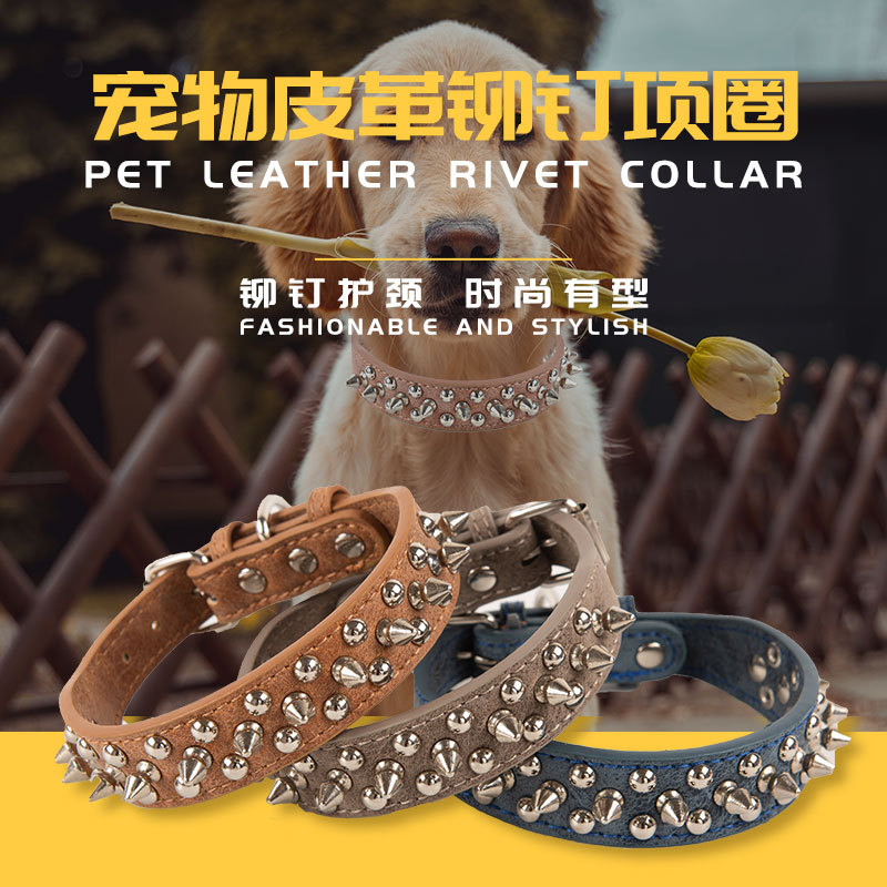 New Style Rivet Pet Collar Anti-Bite Spike Neck Ring Retro PU Leather Dog Neck Ring Collar Pet Supplies