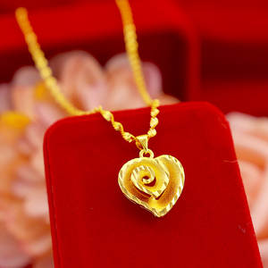 Gold Necklace Pendant Jewelry Choker Heart-Chain Korean Real-18k Women Engagement