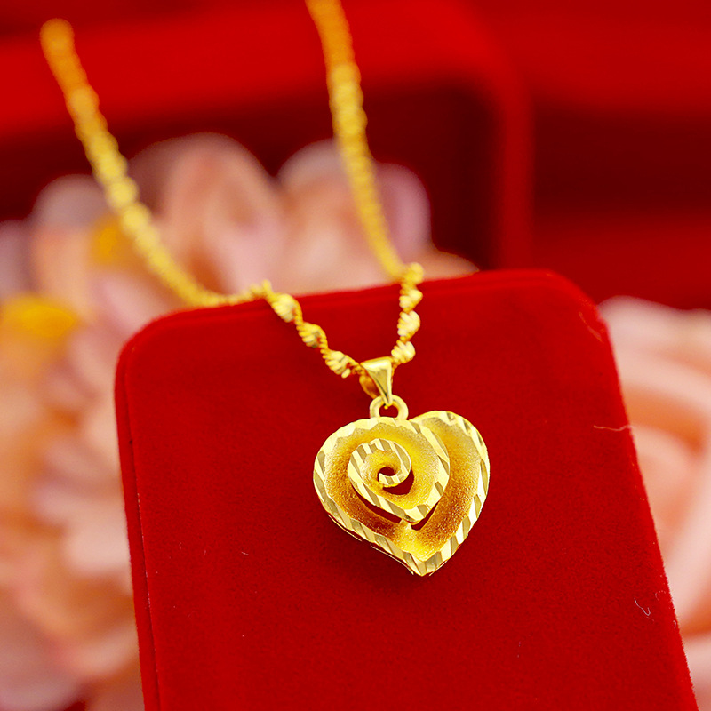 Korean Real 18K Gold Necklace Pendant for Women Wedding Engagement Jewelry Peach Heart Chain Necklace Choker Birthday Gifts
