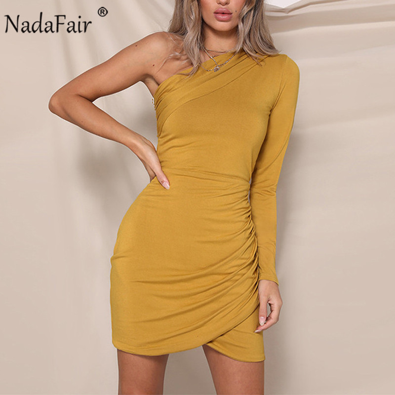 Nadafair Sexy One Shoulder Ruched Bodycon Mini Dress Women Long Sleeve Club Party Autumn Winter Casual Dress Vestidos