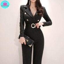 2019 womens new Korean temperament suit collar slim slimming high waist strap wide leg jumpsuit