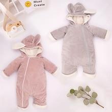 New Autumn Baby Winter Rompers Newborn Boys Girls Soft Velvet Warm Jumpsuit Hood