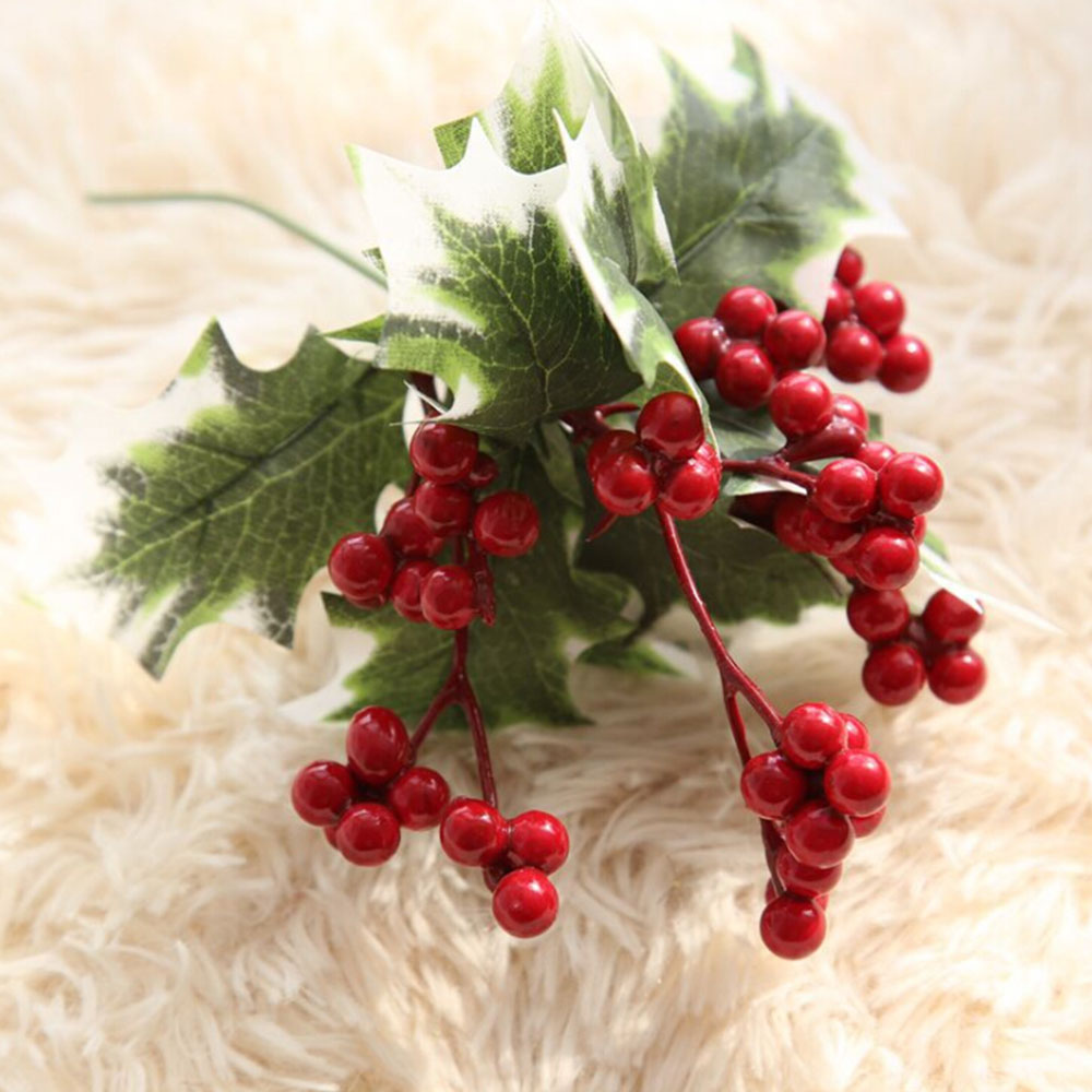 Albero di natale Artificiale Bacca Rossa Frutta Pianta Bacche Fiore Artificiale Rosso Ciliegia Decorativa Di Natale Rami di Fiori - 4