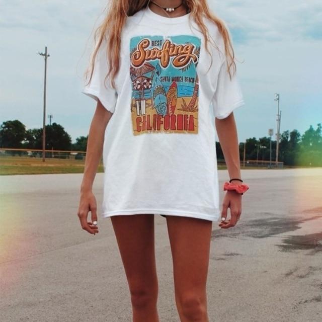 1pcs WHITE Tees Summer Casual Oversized Tee Best Surfing Santa Monica California Womens Retro Style T-Shirt Vacation Beach Shirt 4