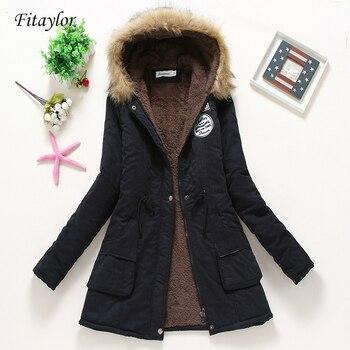 Fitaylor-manteaux d'hiver rembourrés pour femme, veste matelassée en coton mi-longs, Parkas épais à capuche, vêtements d'extérieur de neige, Abrigos 1