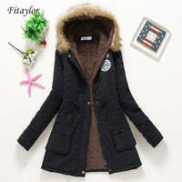 Fitailor nuevo invierno Abrigos acolchados mujer algodón Wadded Jacket mediano largo Parkas grueso acolchado con capucha nieve prendas de vestir Abrigos