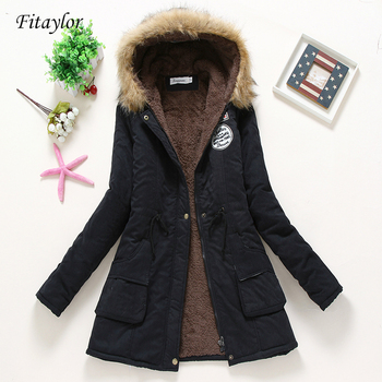 Fitaylor New Winter Padded Coats Women Cotton Wadded Jacket Medium Long Parkas Thick Warm Hooded