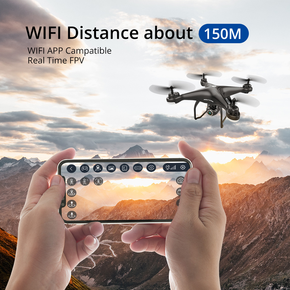 Holy Stone HS120D GPS RC Drone 150M WIFI FPV 1080p HD Camera Voice Recording Tapfly Long Range with Follow Me RC Quadcopter 300M (White)