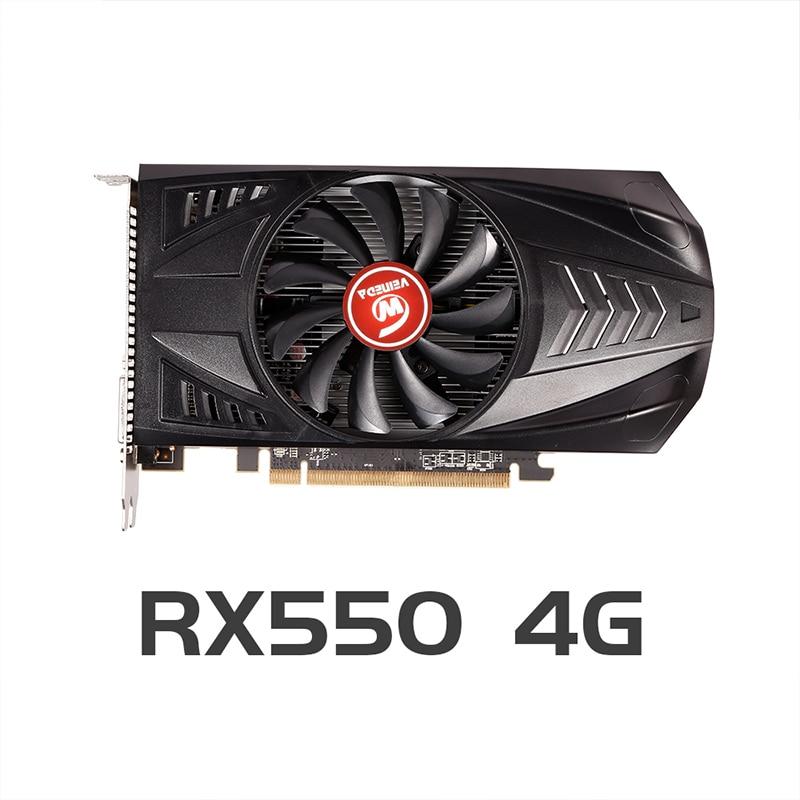 Видеокарта VEINEDA RX 550, 4 Гб, GPU AMD Radeon RX550, 4 ГБ GDDR5, игровая карта для настольного ПК, PCI-E X16