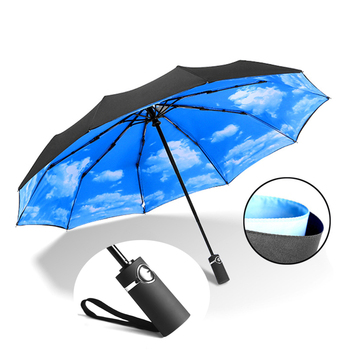 Strong Wind Resistant Double Fully-automatic Umbrella Folding 10K Large Fiberglass Parasol Rain For Women Men Business Umbrellas wind resistant three fold automatic umbrella rain women auto luxury big windproof umbrellas men black coating 10k parasol gift