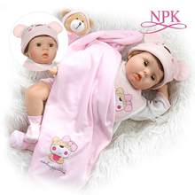 NPK 55CM soft body bebes doll reborn baby silicone eyes blink sweet girl Birthday Gift