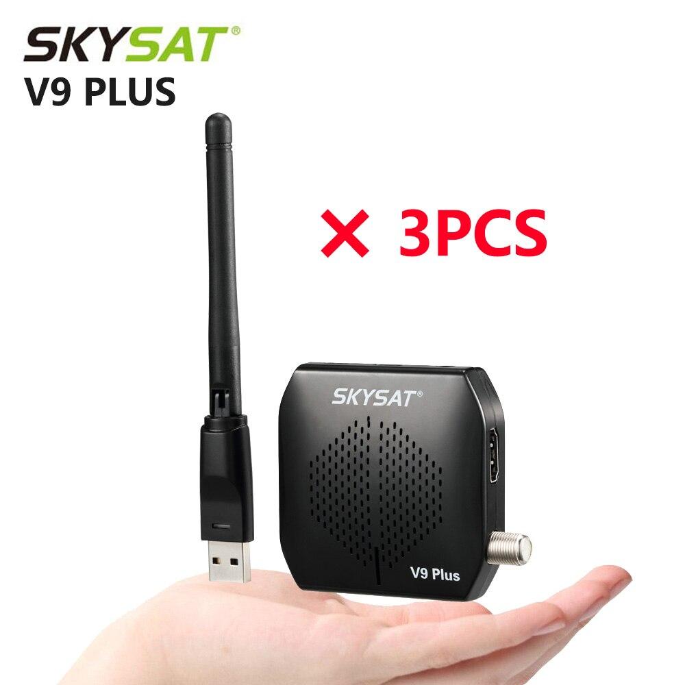 [3 шт.] спутниковый приемник SKYSAT V9 Plus, поддержка DVB S2, спутниковый приемник CS Powervu Biss USB PVR HD