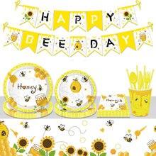 Bumble abelha tema festa de aniversário suprimentos diy crianças decorações balão garland descartável conjunto de utensílios de mesa do chuveiro do bebê fonte