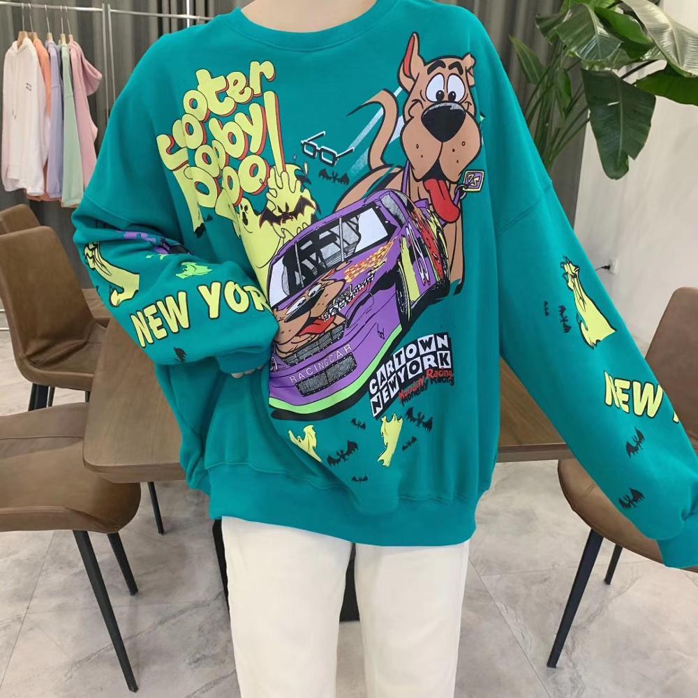 2020 Spring Cotton Hoodies Women's Sweatshirt 95% Cotton Loose-Fit Crew Neck Laziness-Style Tops Fashion Coat