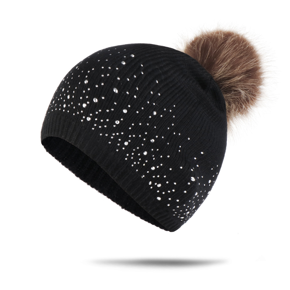 Winter Hats For Women Pompom Beanie Hat Female Knitted Wool Skullies Beanies Casual Black White Women's Cap Crystal Pom Pom Hat