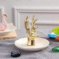 Украшение в виде головы оленя  импортные товары  креативное украшение для спальни  керамическое Ювелирное кольцо  подставка для ювелирных и...