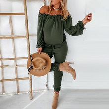 Women Outfits Solid Color Ruffled One-Shoulder Casual Ladies Trousers Suit New Spring Fashion Casual Soft Comfy Female Clothing