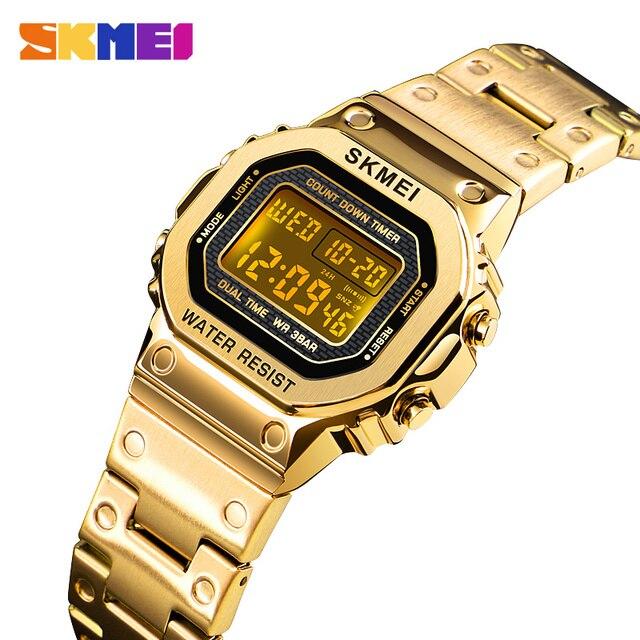SKMEI kadınlar dijital saatler moda spor kol saati kronometre Chronograph su geçirmez bilezik bayanlar elbise İzle çalar saat