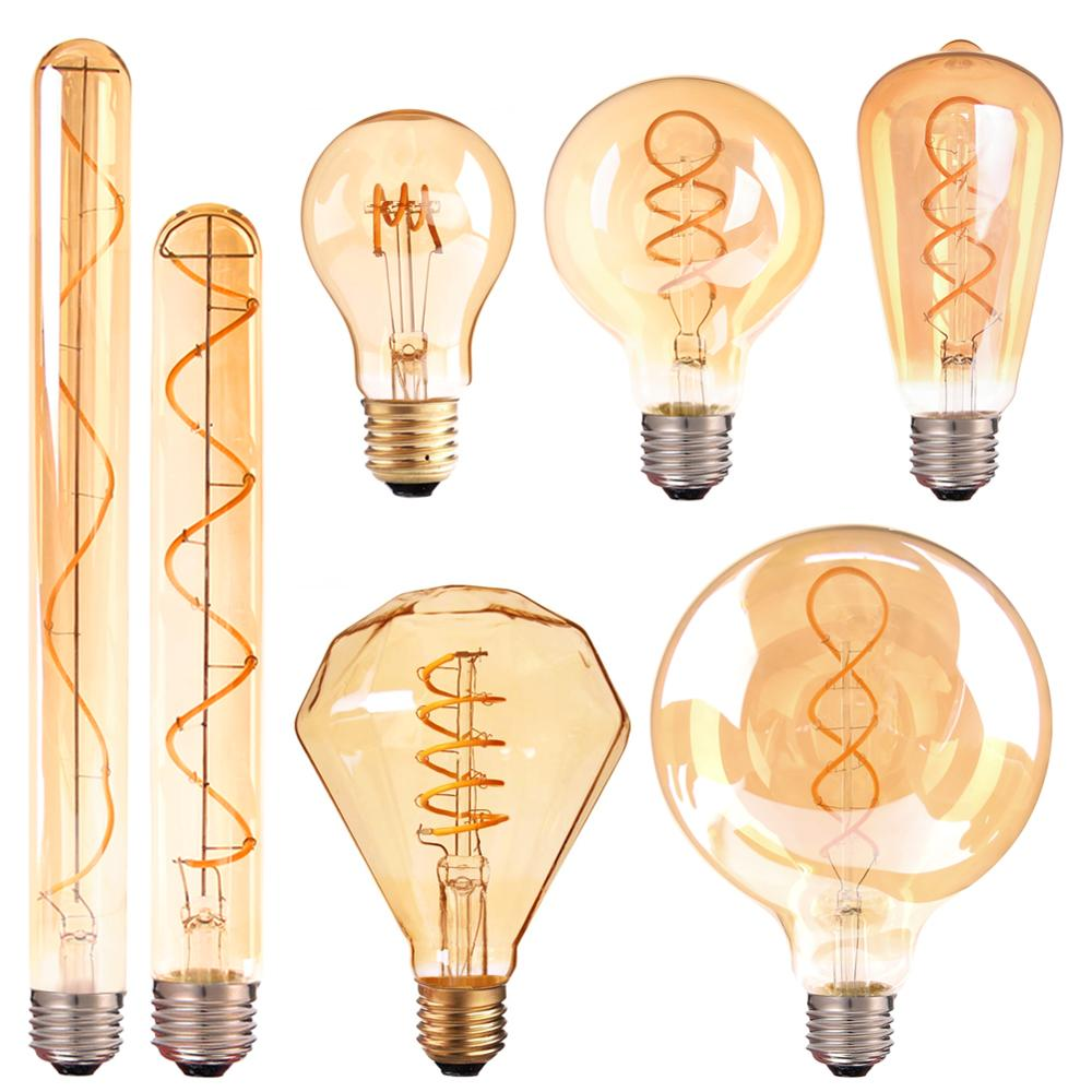 E27 Dimmable LED Bulb 220V Vintage Spiral LED Filament Light Bulb 4W 35W Equivalent Retro Decoration Flexible Lamp Ampoule Led