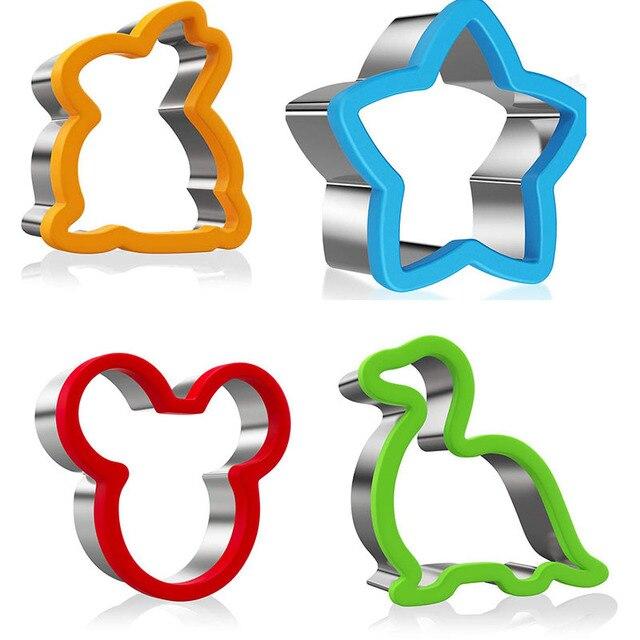 2PCS Sandwich Cutter Set for Kids Animal Dinosaur Star Heart Shape Stainless Steel Bread Mould Metal Cookie Cutters Mold